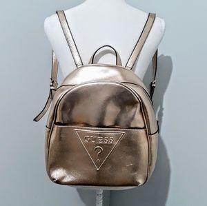 Guess Logo Gold Metallic Large Backpack Handbag